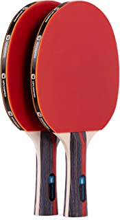 UPCONPRO Professional Ping Pong Paddle Set - 2 Pack Premium Table Tennis Racket Set, 3 Professional Game Balls, Training Recreational Racquet Kit, Durable Handle Sturdy Rubber, Portable Carry Case Bag