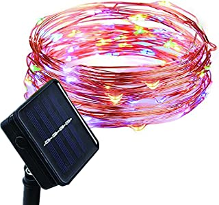 Waterproof Outdoor Solar Powered Copper Wire String Lights Starry Fairy Decorative Rope Lighting for Home Patio Lawn Yard Garden Gate Wedding Party Christmas Decor Decorations 16ft 50 Mini Color LEDs