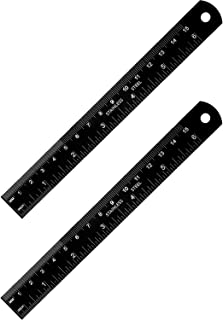 Stainless Steel Ruler and Metal Rule Kit with Conversion Table (6 Inch, 6 Inch, Black)