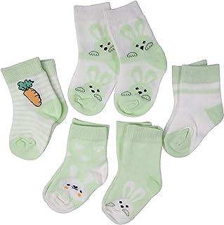 SYEEGCS - Calcetines para niños y niñas, de algodón, 5 pares, transpirables, cómodos, modelo Ravanillo, conejo, color verde M