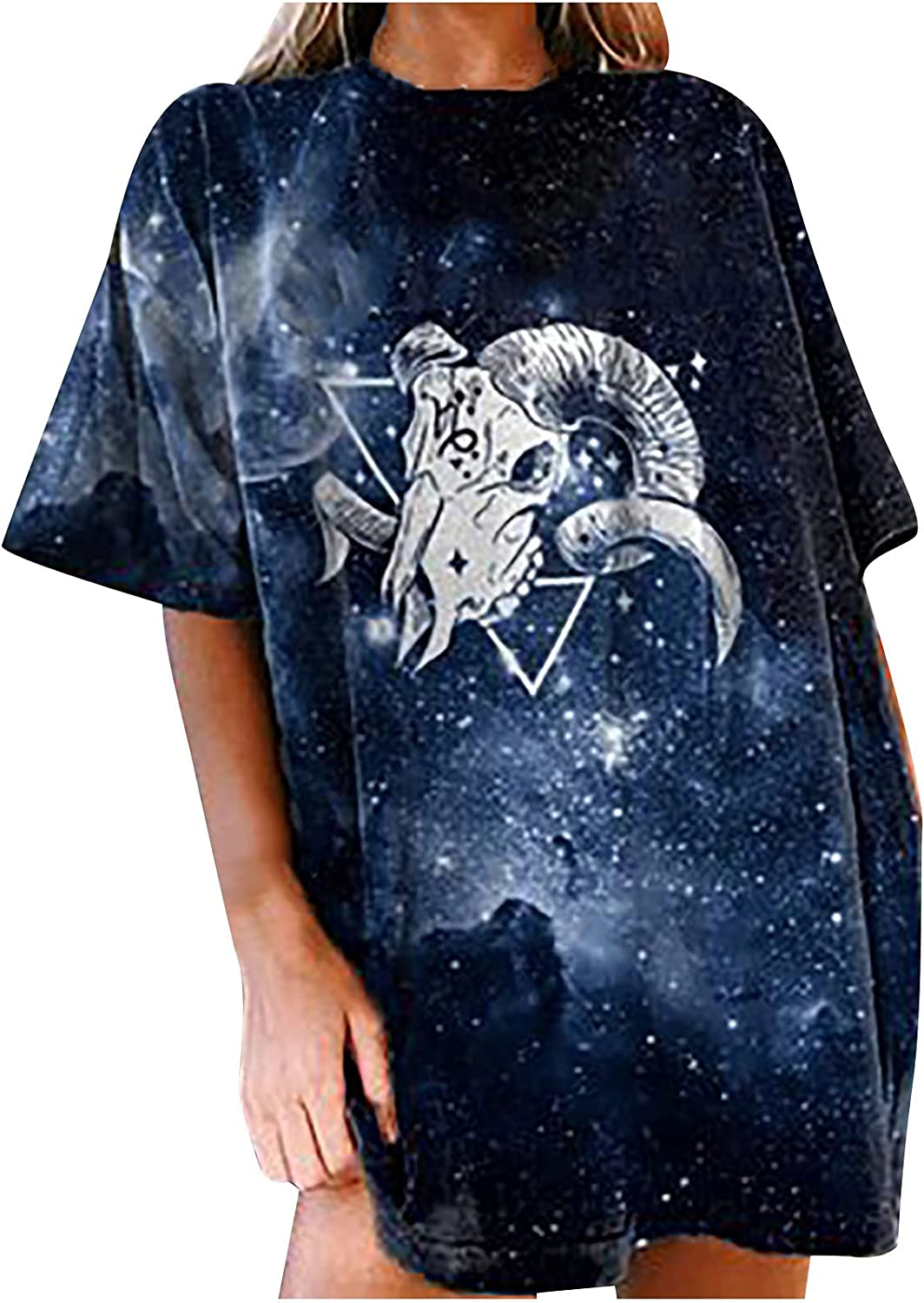 Women's Vintage T-Shirt Drop Sleeves Constellation Printed Graphics Tee Tops Casual Short Sleeve Tunic Tops