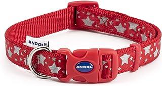 Ancol Nylon Adjustable Reflective Collar Paw N Bone Red 30-50cm Sz 2-5