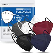 KN95 Face Mask 50 PCs, WWDOLL Multiple Colour 5 Layers KN95 Masks, Dispoasable Masks Respirator for Protection(Black, White, Grey, Red, Purple)
