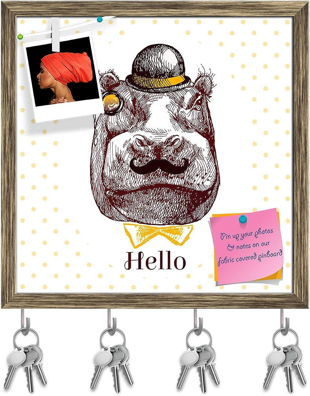 Artzfolio Hippopotamus Head Key Holder Hooks   Notice Pin Board   Antique golden Frame 20 X 20Inch