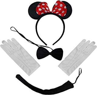 Black Red White Polkadot Minnie Mouse Ears Headband Bow Tie Tail + Gloves Set