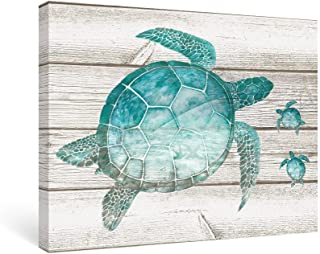 SUMGAR Bathroom Wall Art Bedroom Teal Decor Beach Pictures Coastal Ocean Canvas Paintings Sea Turtle,12x16 in