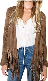 FAPIZI Women's Fall Winter Coat Vintage Faux Suede Fringe Long Sleeve Cardigan Vest Tassels Hippie Clothes Jacket