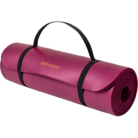Retrospec Solana Yoga Mat Thick w/Nylon Strap for Men & Women, Boysenberry, 1/2 inch, Model Number: 3407s