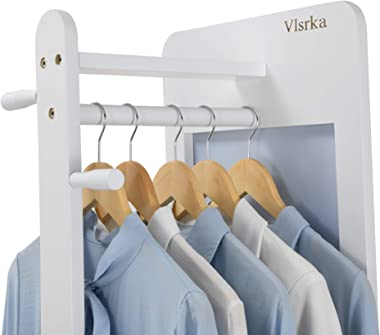 Vlsrka Bedroom Armoire Wardrobe Closet with Full Length Mirror, 67'' Wood Coat Rack Stand, Clothes Storage Organizer