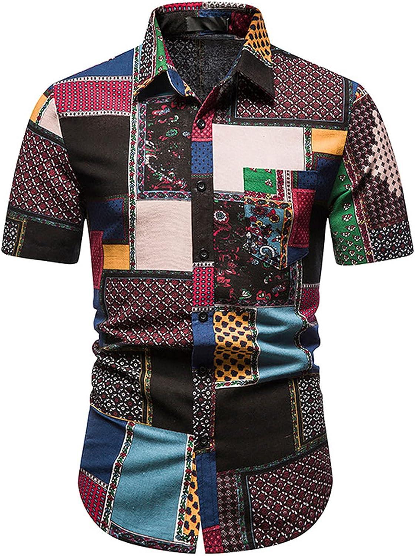 BingYELH Men's Hawaiian Shirt Casual Turn-Down Collar Short Sleeves Printed Button Down Summer Beach Dress Shirts