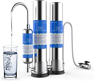 SimPure Countertop Water Filter, Stainless Steel Drinking Water Purifier Filtration System, Built-in CTO Filter,T33 Filter and Ceramic Filter, Perfect for Providing Fresh Pure Water, Easy Installation