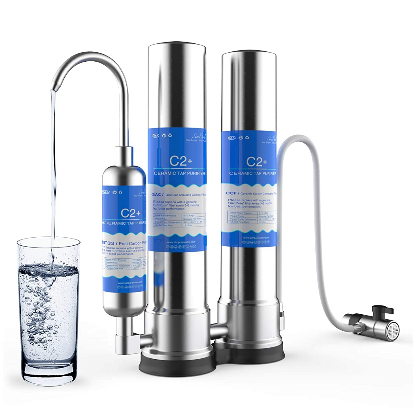 SimPure Countertop Water Filter, Stainless Steel Drinking Water Purifier Filtration System, Built-in CTO Filter,T33 Filter and Ceramic Filter, Perfect for Providing Fresh Pure Water, Easy Installation cjozyfrhxnfbu14