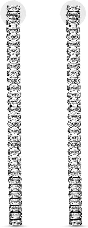 Steve Madden Rhinestone Linear Drop Earrings for Women
