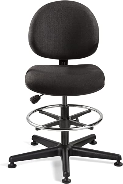 Bevco Lexington Tall Height Black Fabric Chair Black Nylon Base 18 Adj Chrome Footring Mushroom Glides