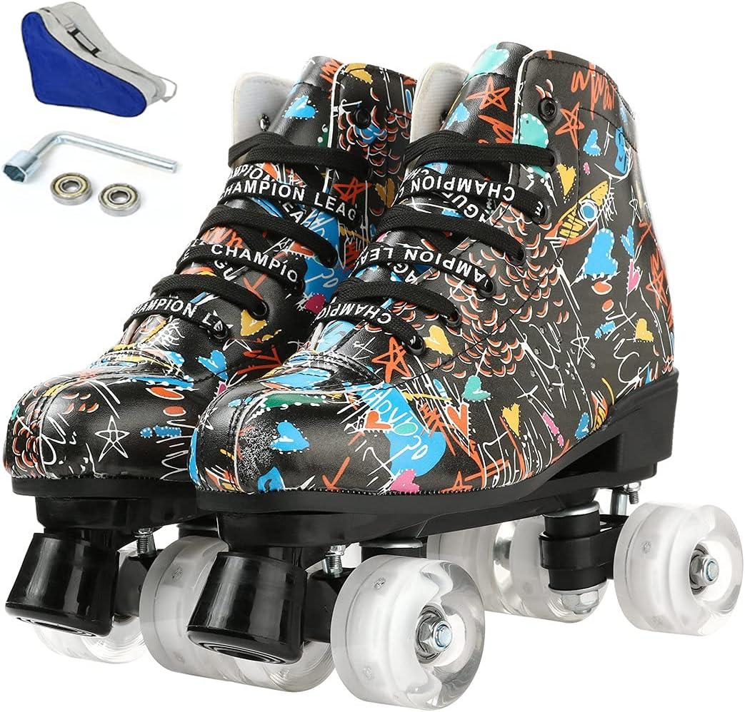 Unisex Indoor and Outdoor Financial Superlatite sales sale Roller Skates High-top Printe Graffiti