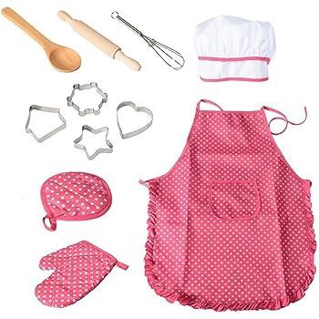 Guanto da Cucina e formine per Biscotti Regalo per Bambini 3 4 5 Anni Akokie Cucina Giocattolo Kit da Gioco Grembiule da Cucina con Cappello da Cuoco 12 Pezzi