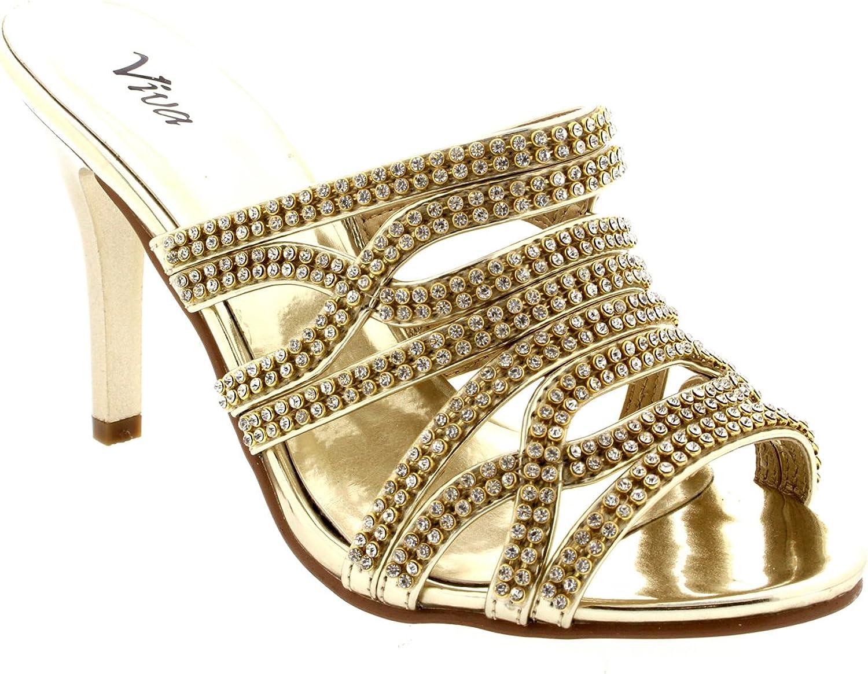 Womens Mules Mid Heels Prom Bridesmaid Pumps Wedding Stilettos Evening - gold - 8
