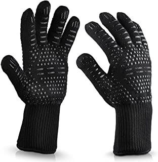WISEWO Anti Hot Gloves,BBQ Cooking Glove 932°F Extreme Heat Resistant oven Gloves for Cooking, Grilling, Baking and Give Y...