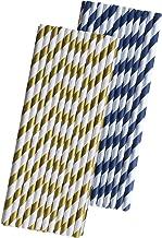شفاطات ورقية باللون الأزرق الداكن والذهبي - مخطط - 7. 75 بوصة - 50 قطعة