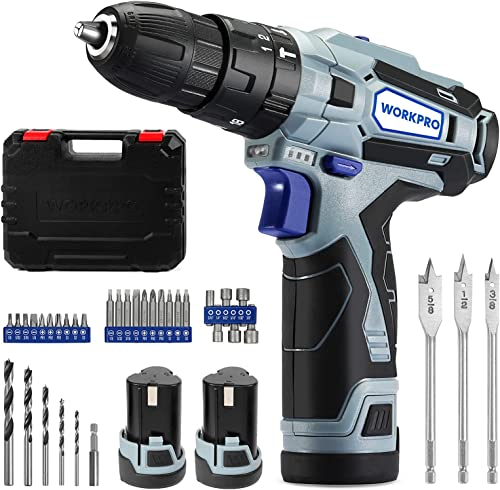 new arrival WORKPRO 12V Cordless Drill Driver Kit, 2-Speed, wholesale 2 Li-Ion Batteries 2000 mAh, Fast Charger, 3/8'' popular Clutch, 18+3 Torque Setting, 34 pcs Drill/Driver Bits Included sale