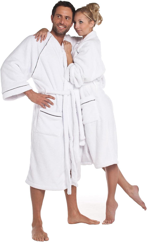 CelinaTex WellSoft Bademantel Damen Herren als Kimono oder mit Kapuze wählbar Mikrofaser Morgenmantel Fleece Saunamantel Weiß Kimono