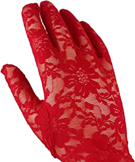 "Women's 14.57"" Summer UV Protection Fingerless Lace Gloves, Elegant Lady's Wrist Bridal Party Evening Lace Gloves - Red - 14.57"""