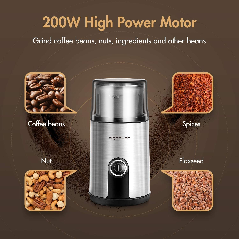 Aigostar Elektrische Kaffeemuehle Mahlgrad Einstellbar Silber