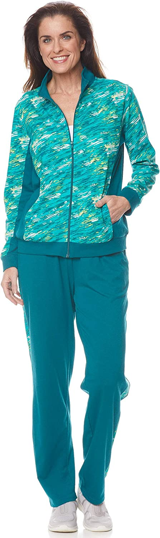 AmeriMark Womens Activewear Pant Set Zipper Jacket Pockets and Pull On Pants