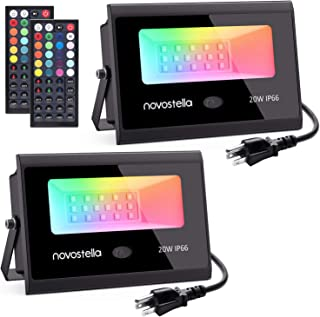Novostella 2 Pack 20W RGB LED Flood Light, 44 Keys Controller, Dimmable Color Changing DIY Floodlight, Wall Washer Lights, IP66 Waterproof, Indoor Outdoor Landscape Stage Lighting for Halloween Garden