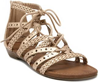 Rampage Women's Shelia Gladiator Braided Flat Lace Up Sandal with Tassel