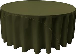 LA Linen Polyester Poplin Round Tablecloth, 120-Inch, Olive