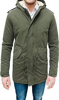 Evoga Giaccone Parka Uomo Verde Militare Casual Slim Fit Invernale con Pelliccia