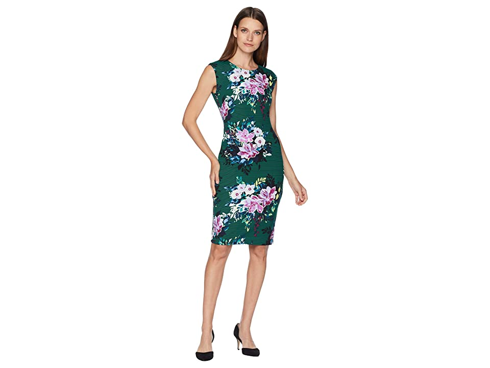 Vince Camuto Extended Cap Bodycon Print Dress (Green Multi) Women