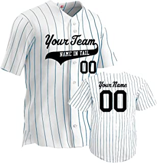 Hardkor Sports Customized Baseball Jersey Adult Pinstripe 6 Button Double Knit with Team Logo
