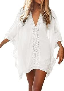 FMing Women's Solid Oversized V-Neck Beach Bikini Cover Up Swimsuit Bathing Suit Beach Dress White