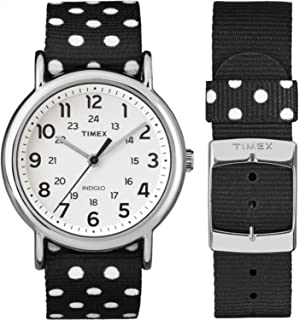 Timex Women's TW2P86600 Weekender Reversible Black/White Dots Nylon Slip-Thru Strap Watch
