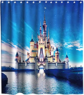 Cinderella Disney Castle Rainbow Theme Fabric Shower Curtain Sets Kids Bathroom Decor with Hooks Waterproof Washable 70 x 70 inches Blue Yellow and Pink