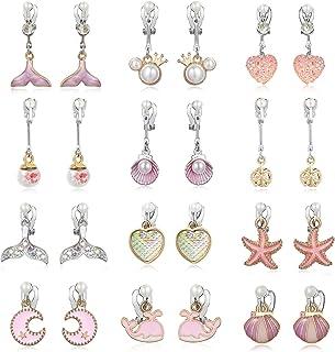 کلیپ PinkSheep در گوشواره های دختران کوچک ، گوشواره های پری دریایی برای کودکان ، 12 جفت ، بهترین هدیه