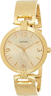 Guess W1228L3 Engraved Logo Wire-Accent Lug Bangle Round Stainless Steel Analog Watch for Women - Gold