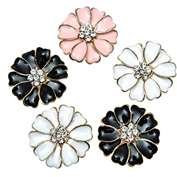 20 Pieces Flat back Flower Rhinestone Buttons Embellishments Pink and White