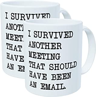 Willcallyou Pack of 2 I Survived another Meeting that Should Have Been an Email 11 Ounces Funny White Coffee Mug
