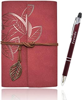 Writing Journal Notebook for Women, A6 Refillable Leather Travel Diary (Wine red) Best Gift for Women and Teens Girls