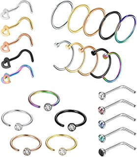 YOVORO 20G 10-25PCS 316L Stainless Steel Nose Rings Hoop Nose Studs Cartilage Hoop Tragus Ear Piercing