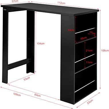 SoBuy® FWT17-Sch Table de Bar Table Haute de Cuisine avec Rangement Mange-Debout Comptoir – Noir