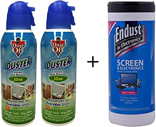 Dust-Off Falcon Professional Electronics Compressed Air Duster and Endust Wipes Bundle: 2 Packs 12 oz. Cans + 70 Count Wipes