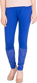 American-Elm Women's Ankle length Designer Lace Legging- Blue