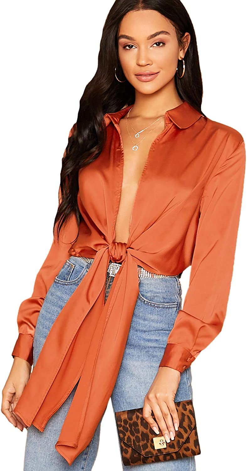 SheIn Women's Bow Tie Satin Bodysuit Plunging Neck Sexy Long Sleeve Blouse Top