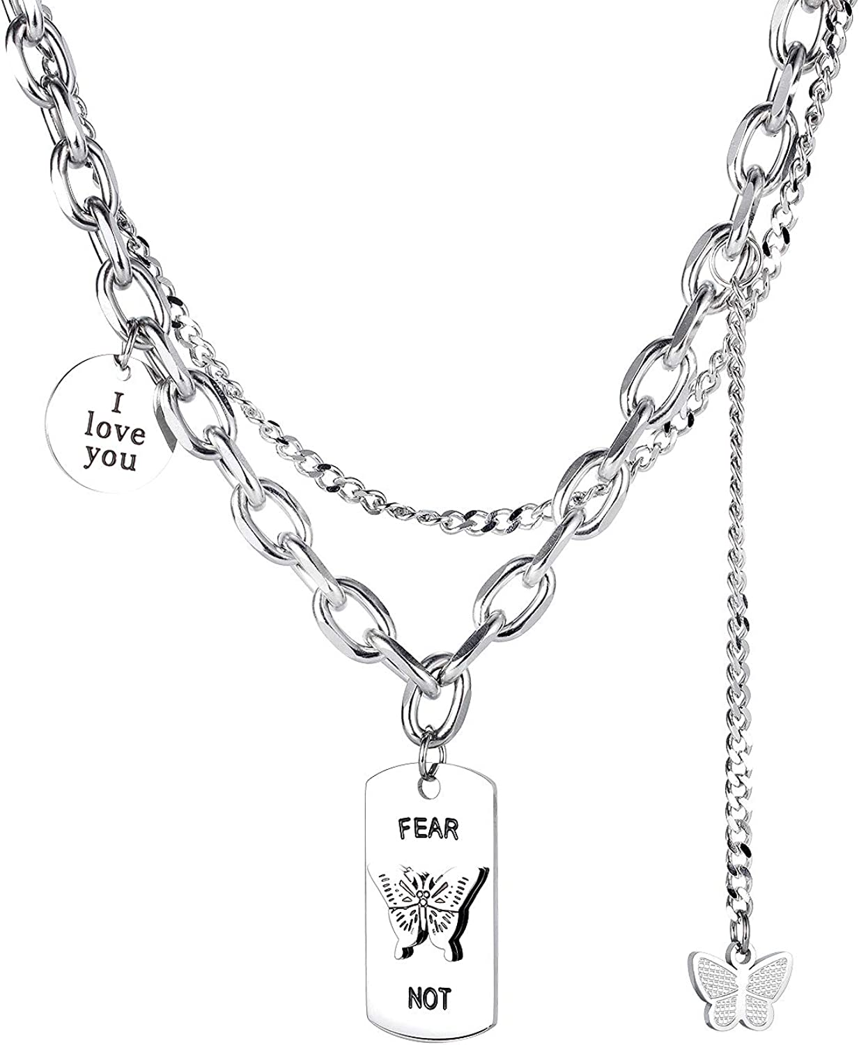 IFUAQZ Women's Stainless Steel Butterfly Dog Tag Pendant Choker Necklace Collar Sweater Chain Adjustable