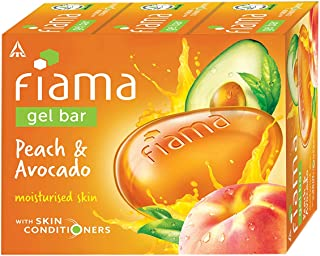 Fiama Gel Bar Peach and Avocado for moisturized skin, with skin conditioners, 125 g soap (Pack of 3)