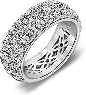 5.5 ct Swarovski Zirconia 3 Row Pave Round Cut Ring Size 8, Platinum Plated Sterling Silver